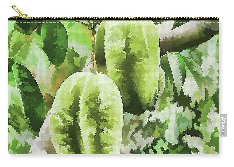 Star Apple Fruit On The Tree Carry-all Pouch featuring the painting Delicious Star Fruit by Jeelan Clark