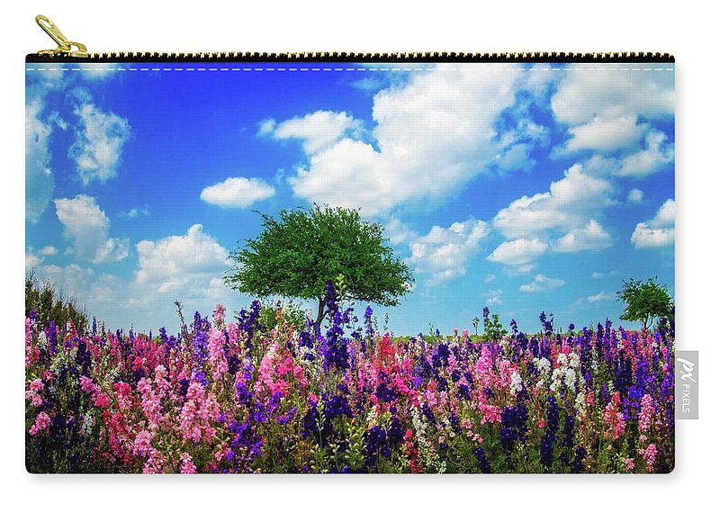 Wildflowers Carry-all Pouch featuring the photograph Delphinium Daydreams by Lynn Bauer