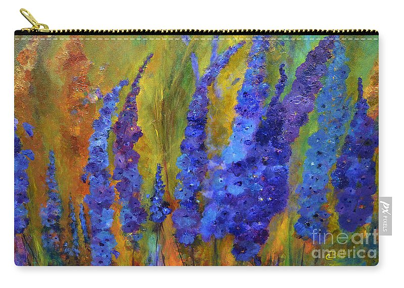 Delphiniums Carry-all Pouch featuring the painting Delphiniums by Claire Bull