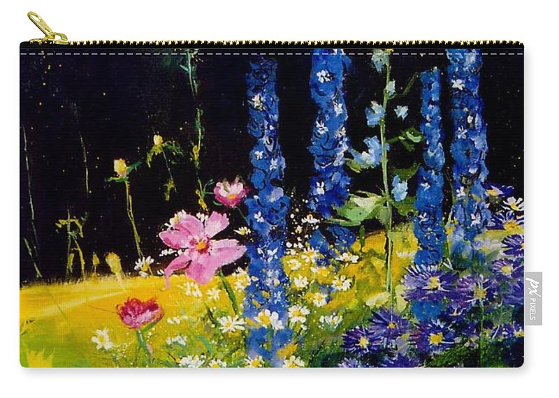 Poppies Carry-all Pouch featuring the painting Delphiniums by Pol Ledent
