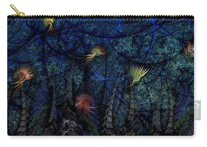 Abstract Carry-all Pouch featuring the digital art Denizens by Casey Kotas