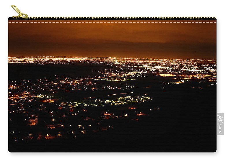 Clay Carry-all Pouch featuring the photograph Denver Area At Night From Lookout Mountain by Clayton Bruster
