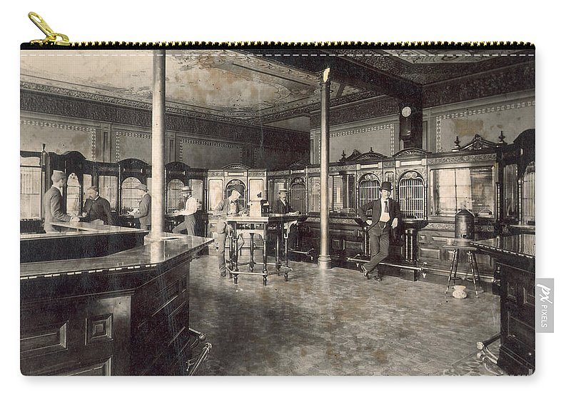 1890 Carry-all Pouch featuring the photograph Denver Bank, C1890 by Granger