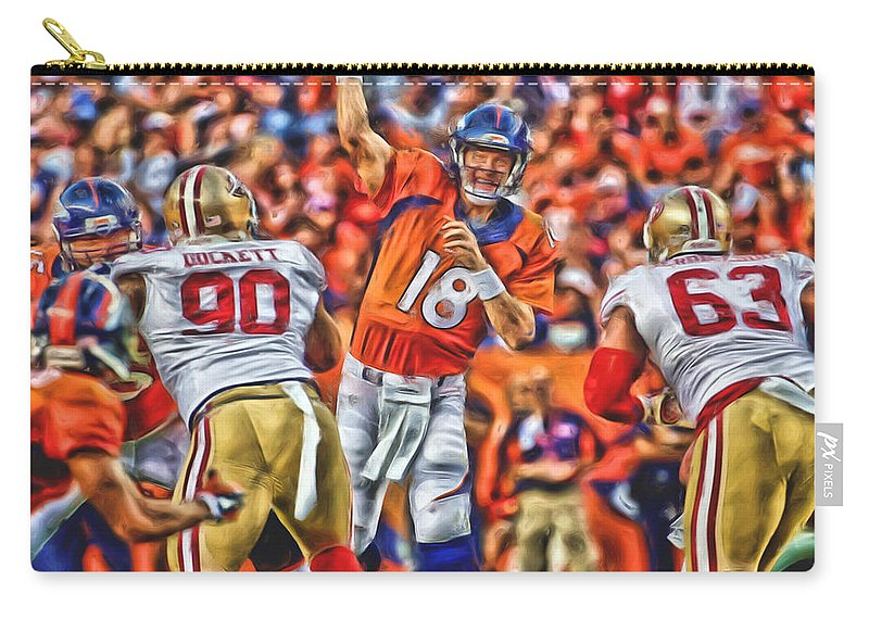 Broncos Carry-all Pouch featuring the mixed media Denver Broncos Peyton Manning Oil Art by Joe Hamilton