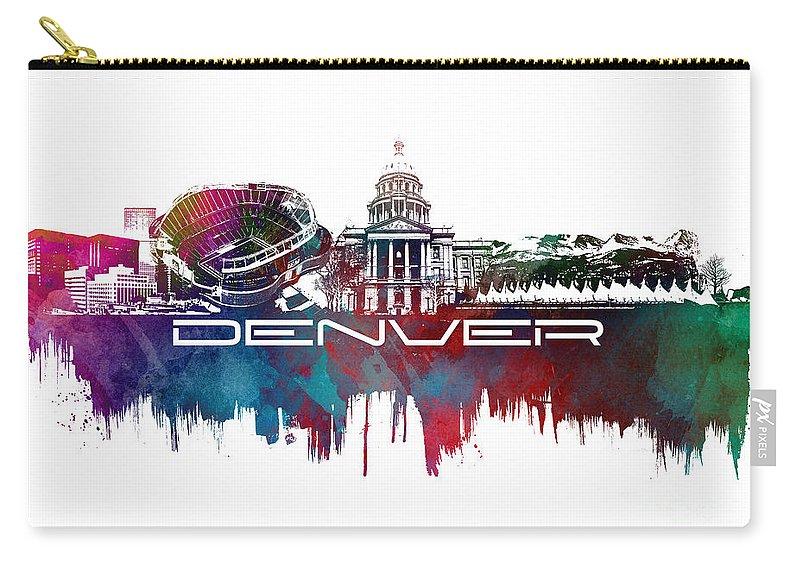 Denver Carry-all Pouch featuring the digital art Denver Skyline City Blue by Justyna JBJart