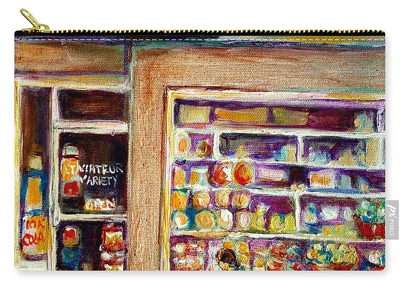 Montreal Carry-all Pouch featuring the painting Depanneur St.viateur by Carole Spandau