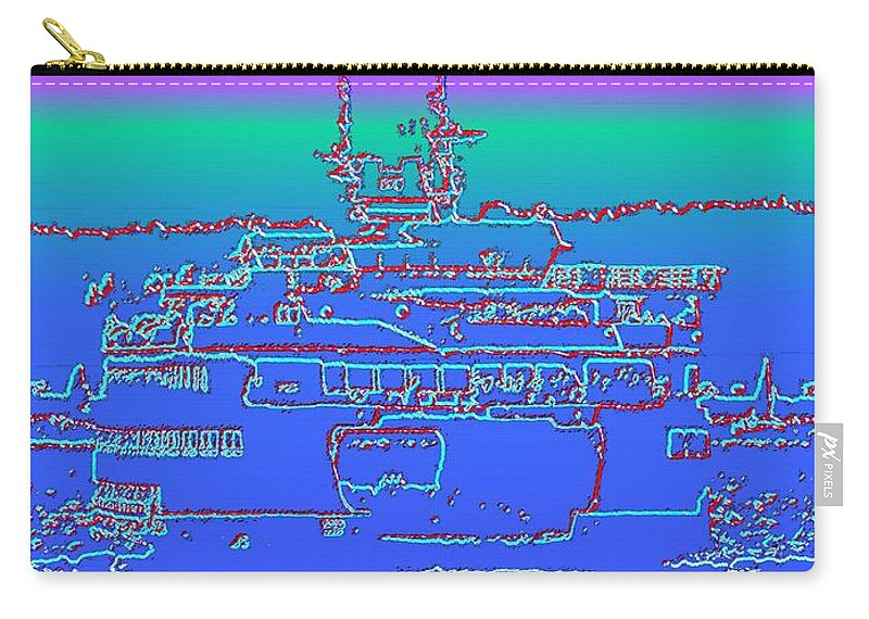 Digital Photo Manipulation Carry-all Pouch featuring the photograph Departing Ferry by Tim Allen