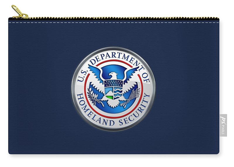 'military Insignia & Heraldry 3d' Collection By Serge Averbukh Carry-all Pouch featuring the digital art Department Of Homeland Security - D H S Emblem On Blue Velvet by Serge Averbukh