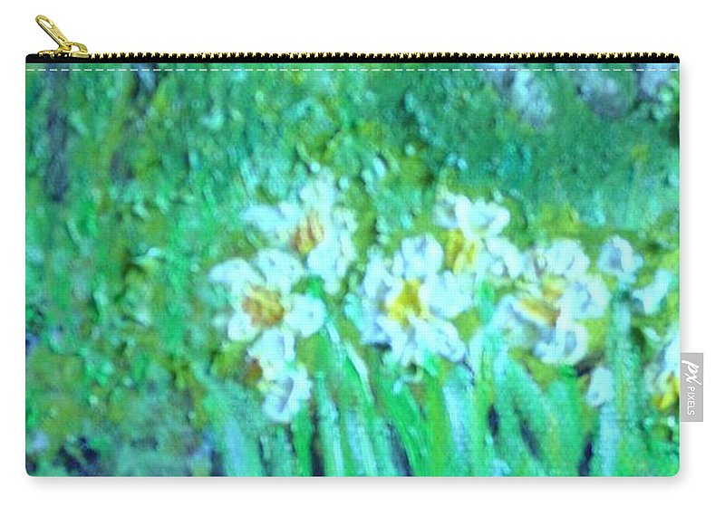 Daffodils Carry-all Pouch featuring the painting Dependable Daffodils by Laurie Morgan