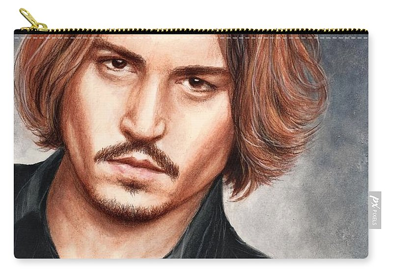 Johnny Depp Bruce Lennon Art Portrait Illuystration Celebrities Carry-all Pouch featuring the painting Depp by Bruce Lennon