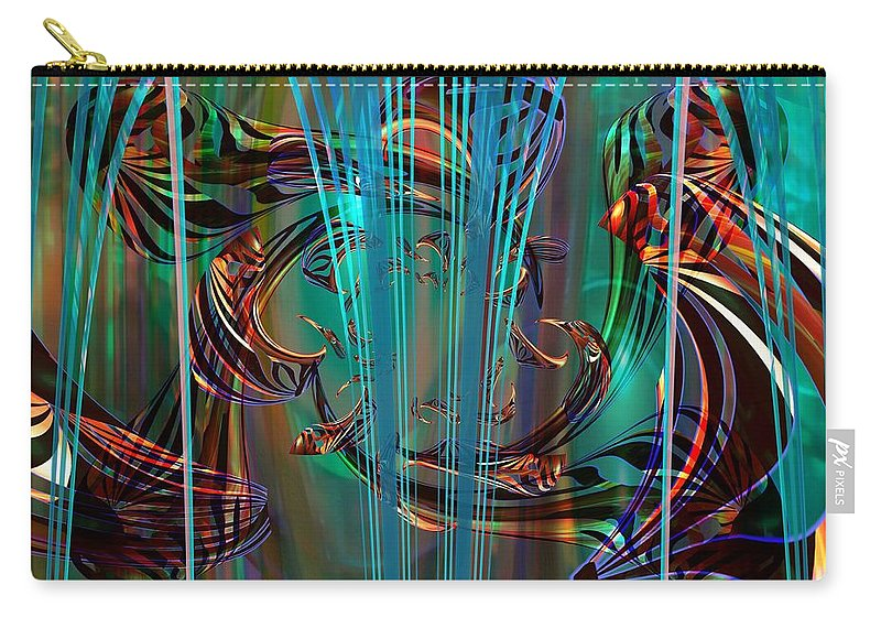 Digital Art Created And Rendered In Paint.net Carry-all Pouch featuring the digital art Depths by Elaine Bawden