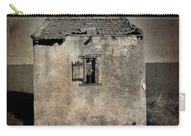 Architecture Carry-all Pouch featuring the photograph Derelict Hut Textured by Bernard Jaubert