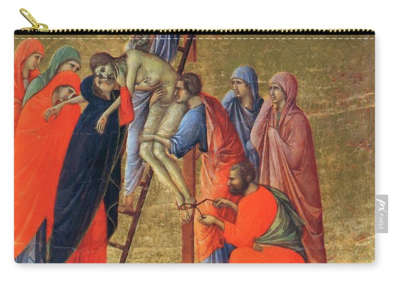 Descent Carry-all Pouch featuring the painting Descent From The Cross 1311 by Duccio