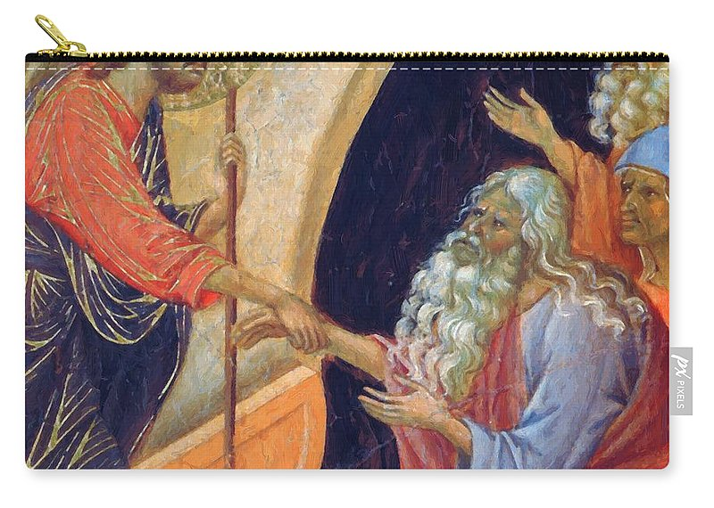 Descent Carry-all Pouch featuring the painting Descent Into Hell Fragment 1311 by Duccio