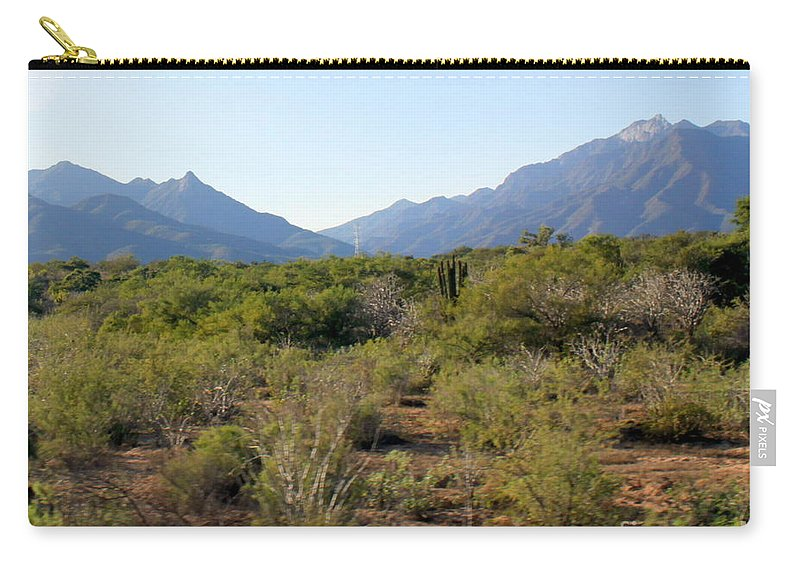 Desert Carry-all Pouch featuring the photograph Desert And Mountains In Mexico Cabo Pulmo by Charlene Cox