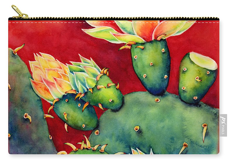 Cactus Carry-all Pouch featuring the painting Desert Bloom by Hailey E Herrera