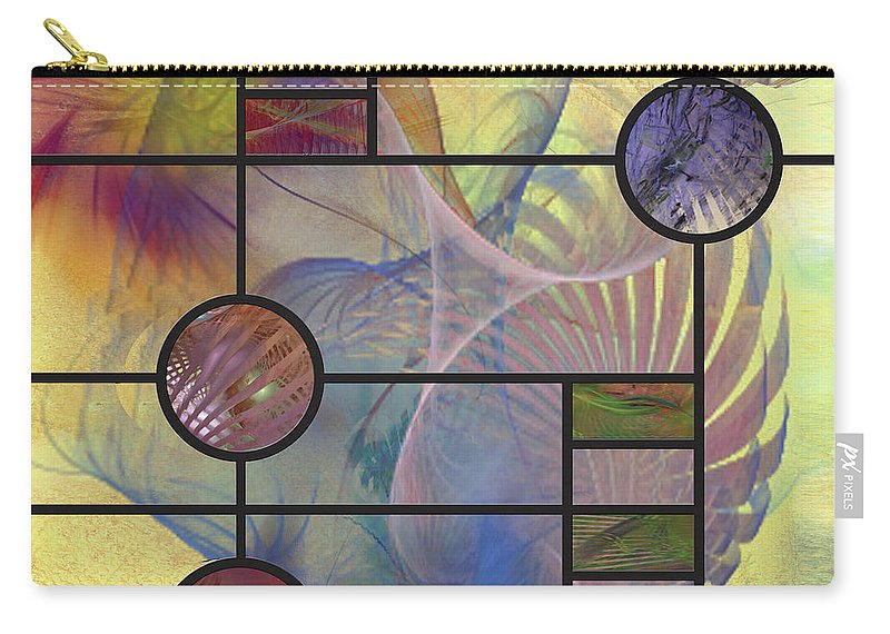 Desert Blossoms Carry-all Pouch featuring the digital art Desert Blossoms - Square Version by John Beck