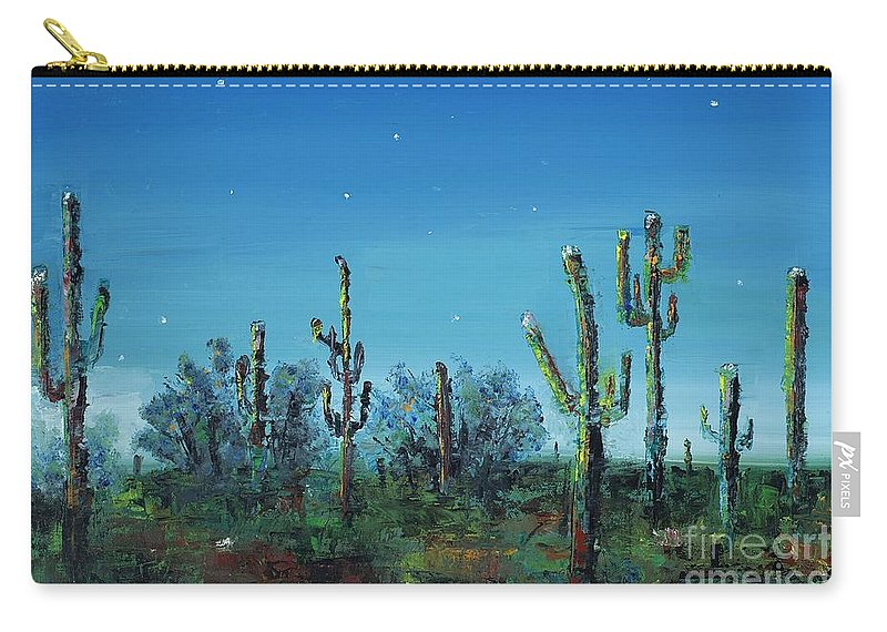 Desert Saguaro Catus In Bloom Carry-all Pouch featuring the painting Desert Blue by Frances Marino