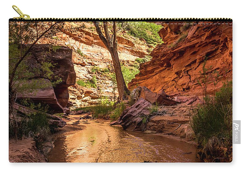 Coyote Gulch Carry-all Pouch featuring the photograph Desert Canyon Paradise - Coyote Gulch - Utah by Gary Whitton