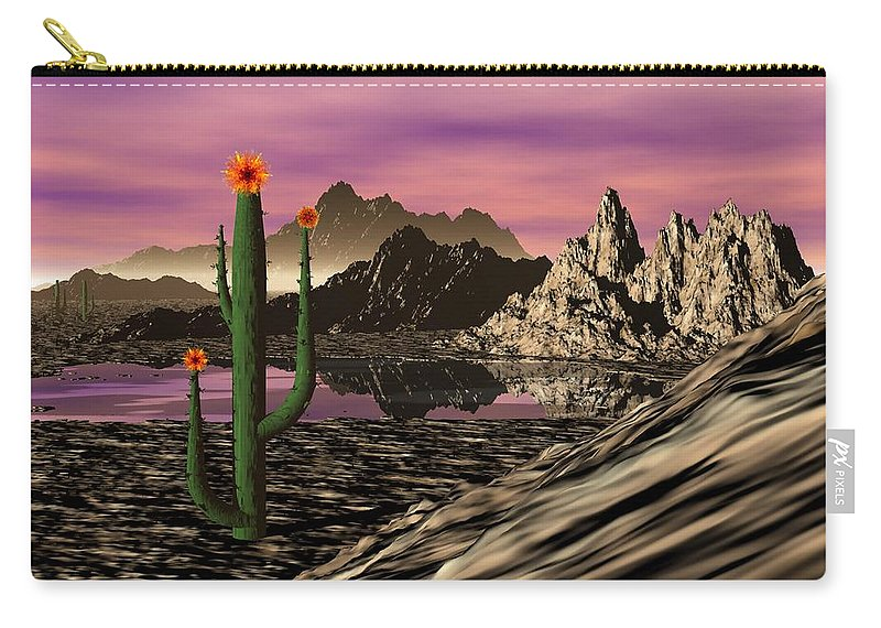 Digital Painting Carry-all Pouch featuring the digital art Desert Cartoon by David Lane