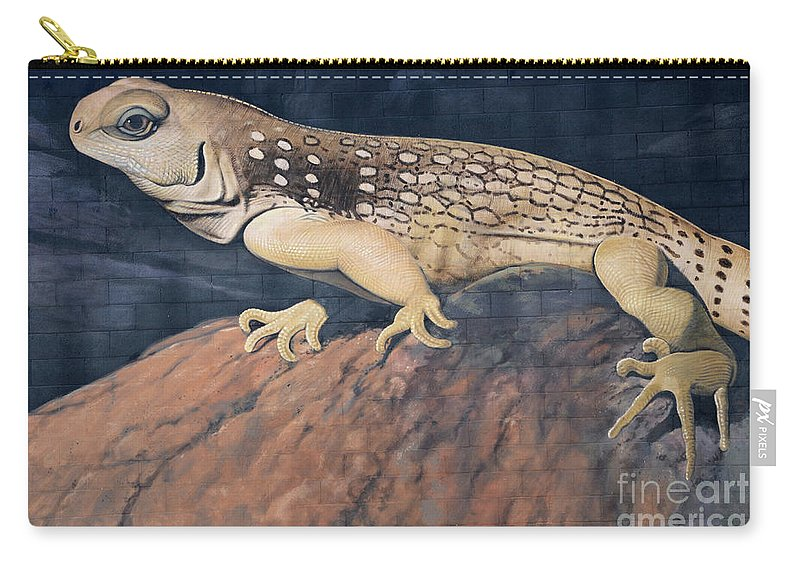 Mural Carry-all Pouch featuring the photograph Desert Iguana Mural by Bob Christopher