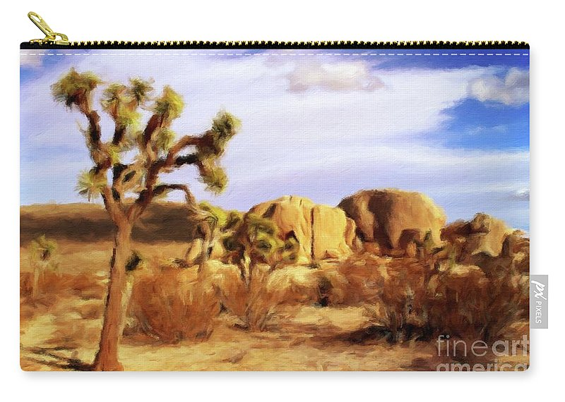 Landscape Carry-all Pouch featuring the painting Desert Landscape by Sarah Kirk