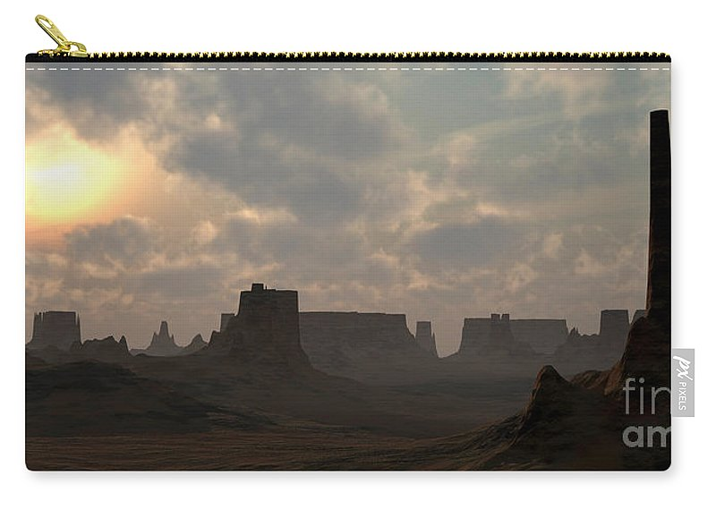 Desert Carry-all Pouch featuring the digital art Desert Morning by Richard Rizzo