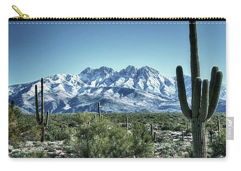 Arizona Carry-all Pouch featuring the photograph Desert Snow by Saija Lehtonen