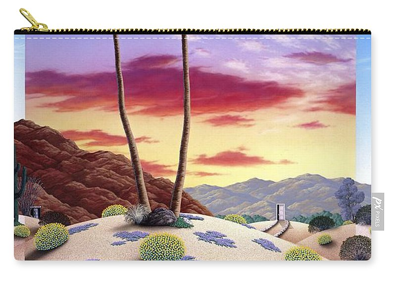 Desert Carry-all Pouch featuring the painting Desert Sunrise by Snake Jagger