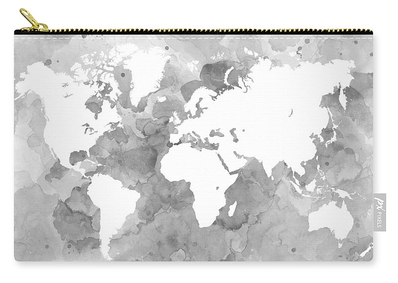 Design 49 world map grayscale carry all pouch for sale by lucie dumas world carry all pouch featuring the digital art design 49 world map grayscale by lucie gumiabroncs Image collections
