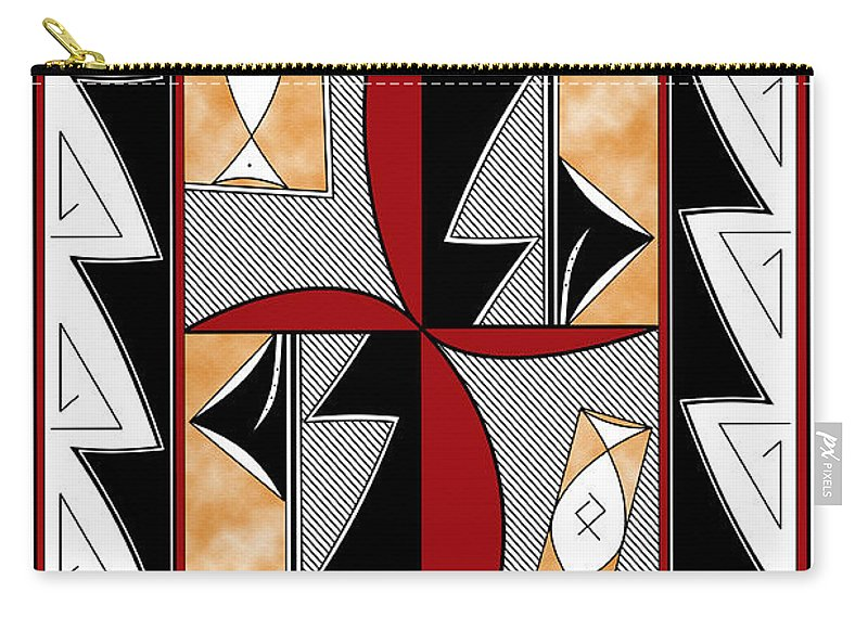 Southwest Carry-all Pouch featuring the digital art Southwest Collection - Design One In Red by Tim Hightower