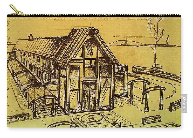 Architectural Carry-all Pouch featuring the drawing Design Sketch by Eric Schiabor