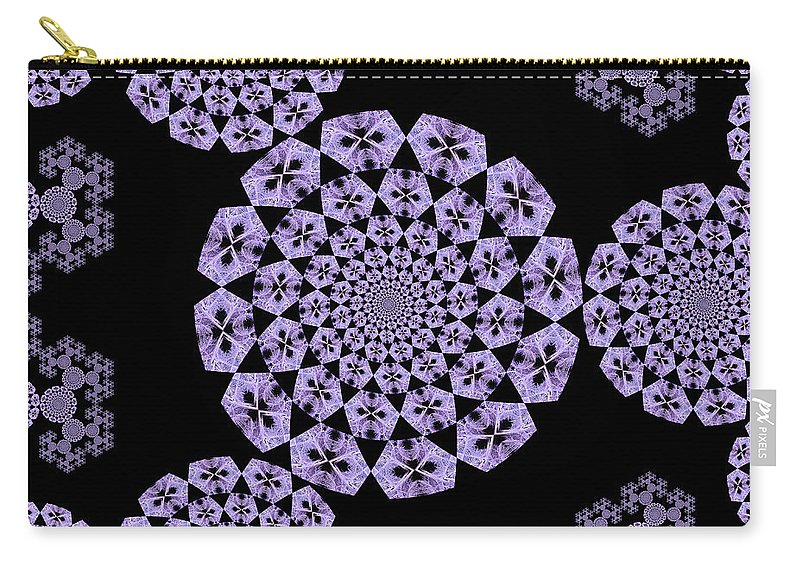 Kaleidoscopic Art Carry-all Pouch featuring the digital art Designing A Dandelion by Jipsi Immanuelle