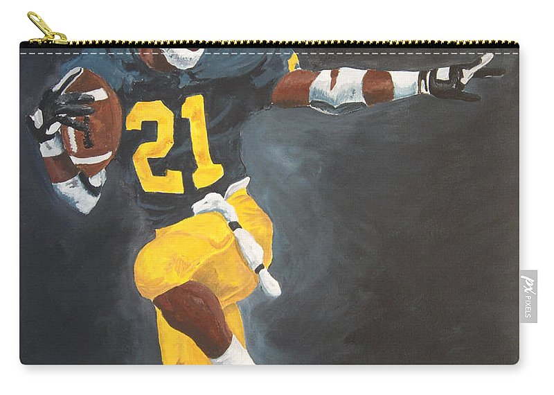 Desmond Howard Carry-all Pouch featuring the painting Desmond Heisman by Travis Day
