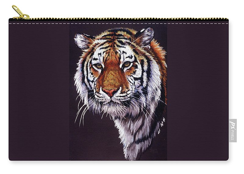 Tiger Carry-all Pouch featuring the drawing Desperado by Barbara Keith