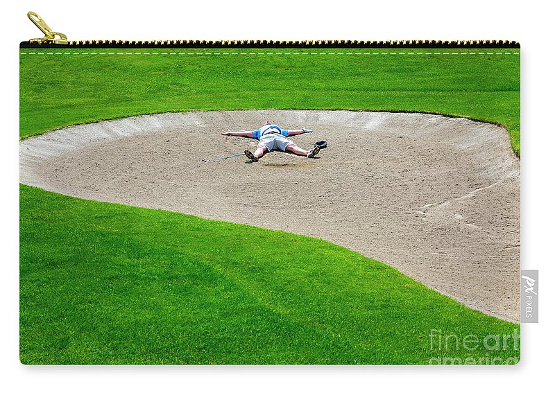 Man Carry-all Pouch featuring the photograph Desperate Golfer by Mats Silvan