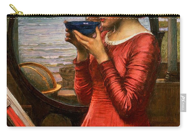 Boat; Globe; Poison; Blue Glass; Pre-raphaelite; Allegorical; Red Dress Carry-all Pouch featuring the painting Destiny by John William Waterhouse
