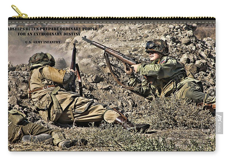 Destiny Carry-all Pouch featuring the photograph Destiny - Us Army Infantry by Tommy Anderson