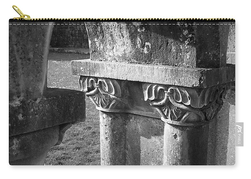 Irish Carry-all Pouch featuring the photograph Detail Of Cloister At Cong Abbey Cong Ireland by Teresa Mucha