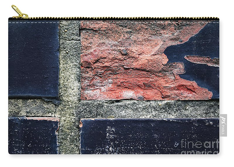 Wall Carry-all Pouch featuring the photograph Detail Of Damaged Wall Tiles by Jozef Jankola