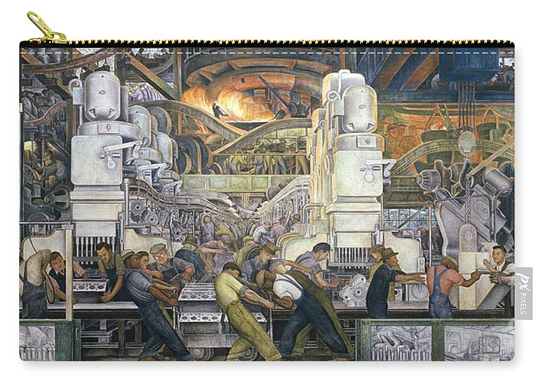 Machinery; Factory; Production Line; Labour; Worker; Male; Industrial Age; Technology; Automobile; Interior; Manufacturing; Work; Detroit Industry Carry-all Pouch featuring the painting Detroit Industry  North Wall by Diego Rivera