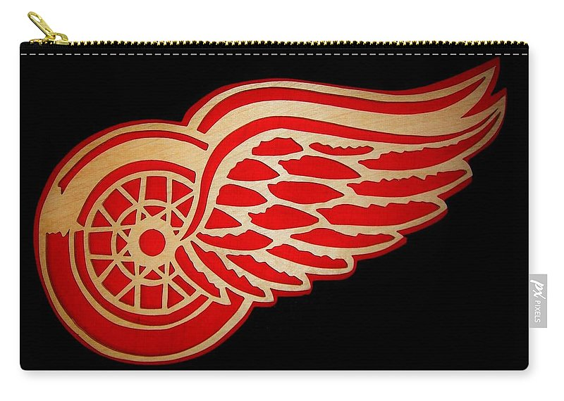 Detroit Carry-all Pouch featuring the digital art Detroit Red Wings - Scrolled by Michael Bergman