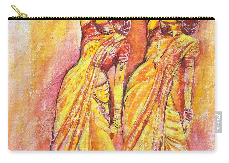 Bollywood Carry-all Pouch featuring the painting Devdas Dance by Usha Shantharam