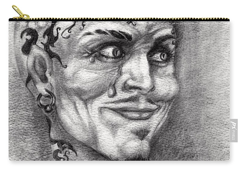 Satan Carry-all Pouch featuring the drawing Devil May Cry by Alban Dizdari