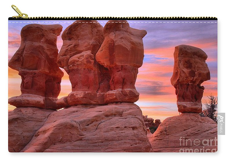 Devils Garden Carry-all Pouch featuring the photograph Devils Garden Pink Sunset by Adam Jewell