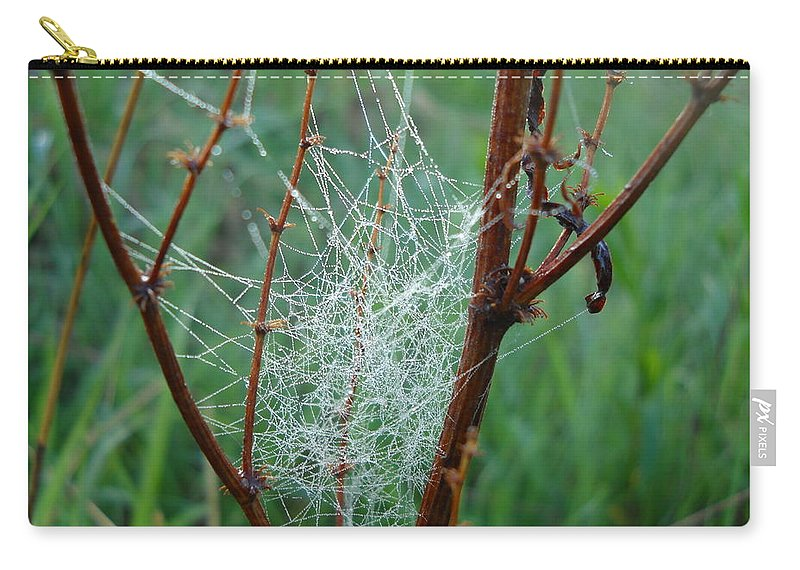 Dew Carry-all Pouch featuring the photograph Dew Covered Spider Web by Kent Lorentzen