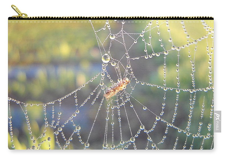 Morning Dew Carry-all Pouch featuring the photograph Dew Drops On A Spider Web by Kent Lorentzen