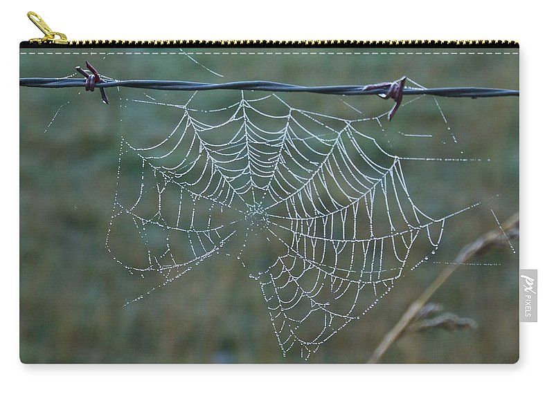 Spider Carry-all Pouch featuring the photograph Dew On The Web by Douglas Barnett