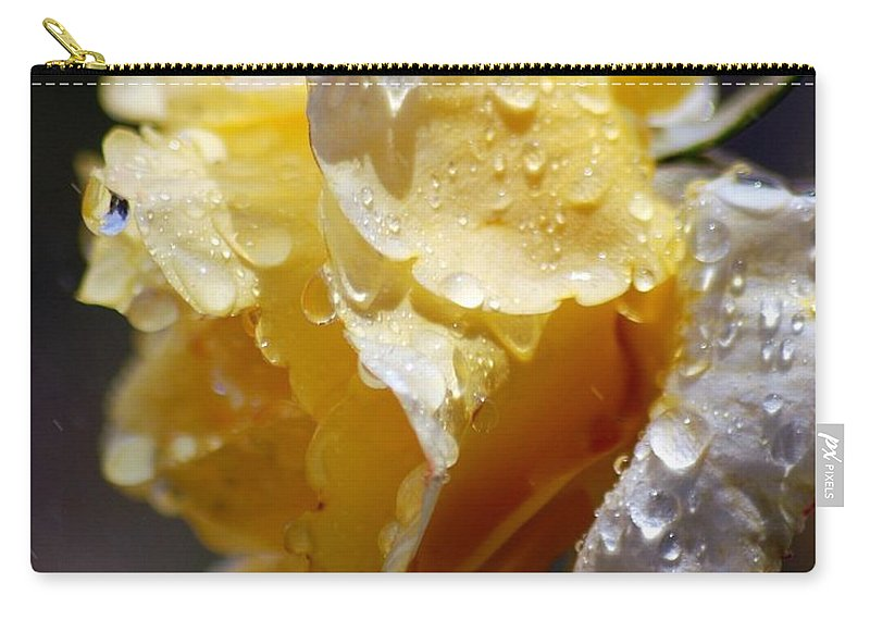 Rose Carry-all Pouch featuring the photograph Dewy Yellow Rose 2 by Amy Fose
