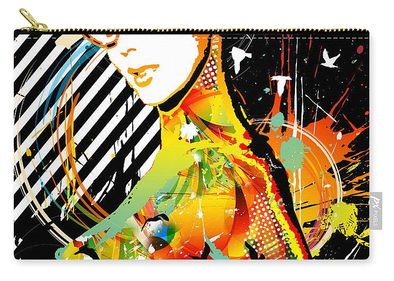 Nostalgic Seduction Carry-all Pouch featuring the mixed media Dexterous Dame by Chris Andruskiewicz